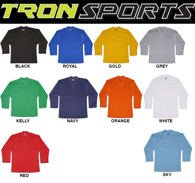fa416a86b72 Adult S-XXL / YS/YM, YL/YXL - $13.00 / Add $5 for Goal Cut Midweight  Dry-FIT fabric, 100% Polyester, Single shoulder. All TRON hockey jerseys  are in stock ...